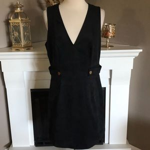 H&M Black Sleeveless Faux Suede V Neck Dress
